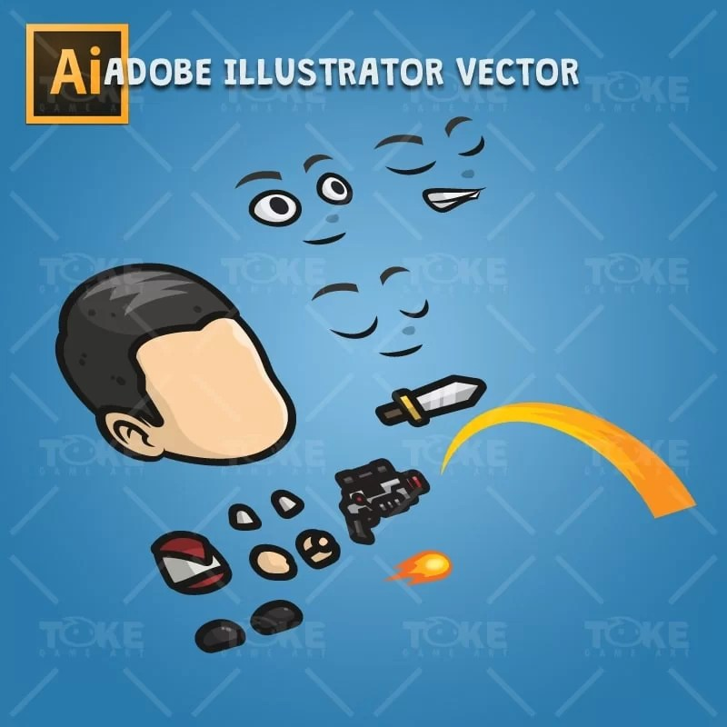 Adventurous Guy 01 - Adobe Illustrator Vector Art Based Character Body Parts