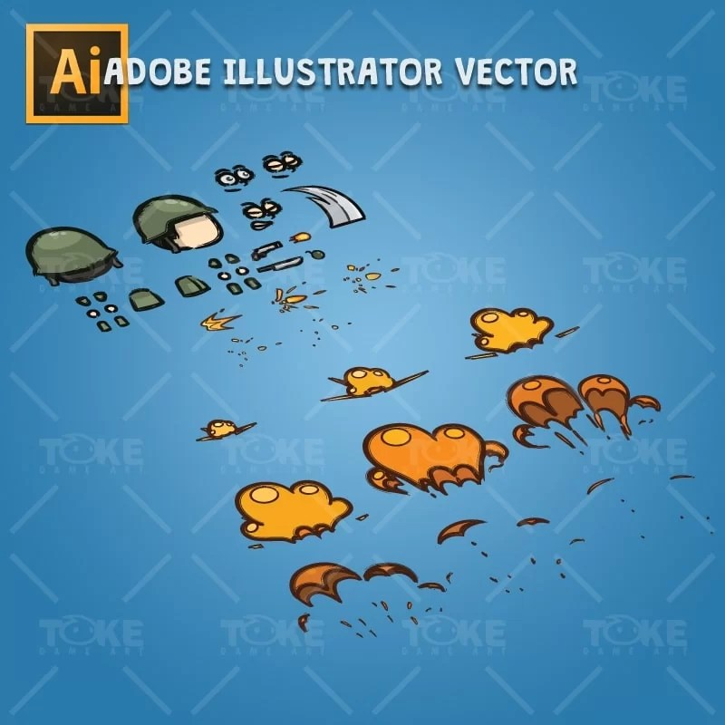 Cartoon Little Army 01 - Adobe Illustrator Vector Art Based Character Body Parts