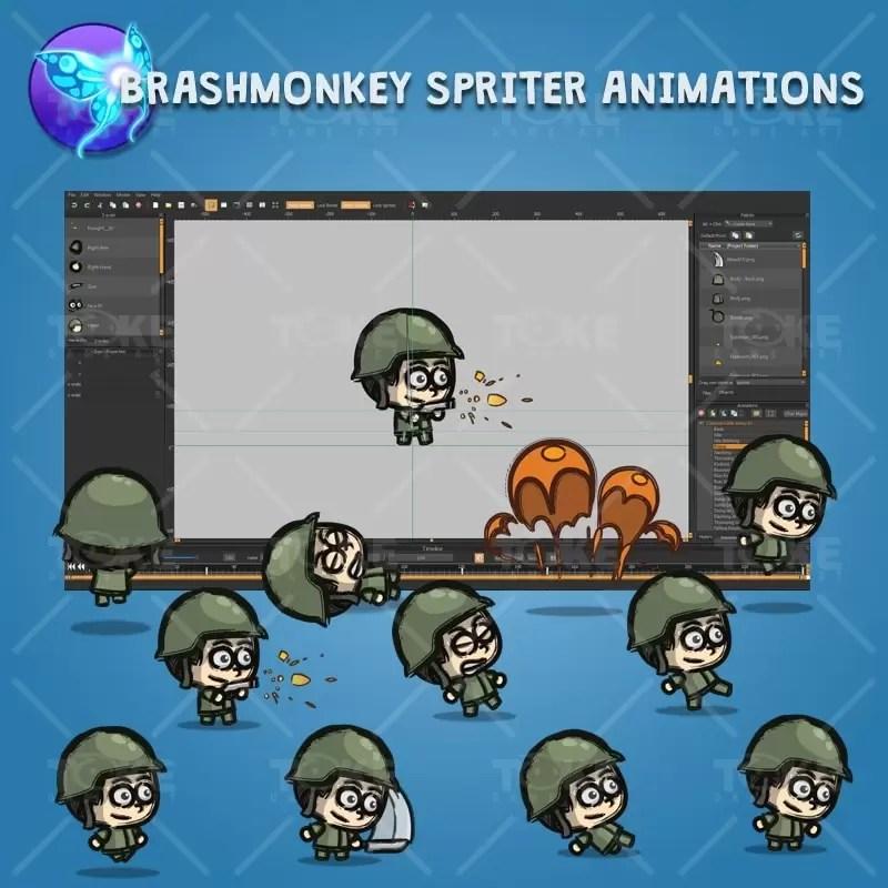 Cartoon Little Army 01 - Brashmonkey Spriter Character Animations