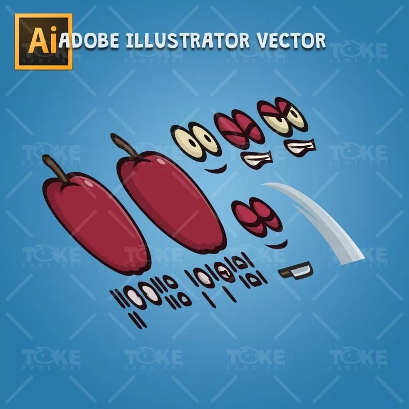 Red Apple Guy - Adobe Illustrator Vector Art Based Character Body Parts