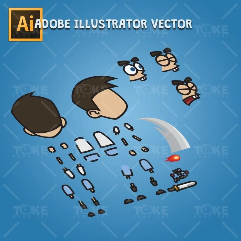 Cartoon Boy with Laser Gun - Adobe Illustrator Vector Art Based Character Body Part