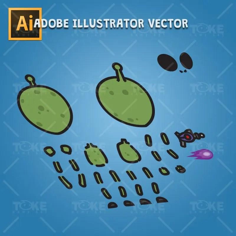 Cartoon Green Skinned Alien - Adobe Illustrator Vector Art Based Charcater Body Parts