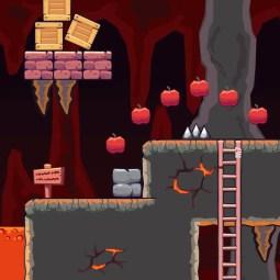 Lava Cave Area - 2D Game Tileset | TokeGameArt
