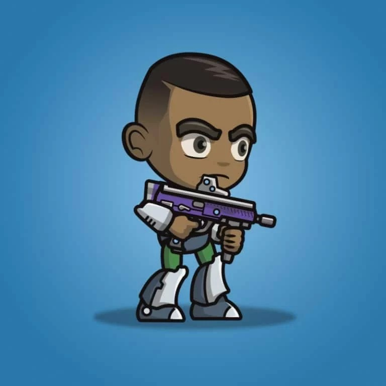 Brown Skin Metro Squad Boy - 2D Character Sprite