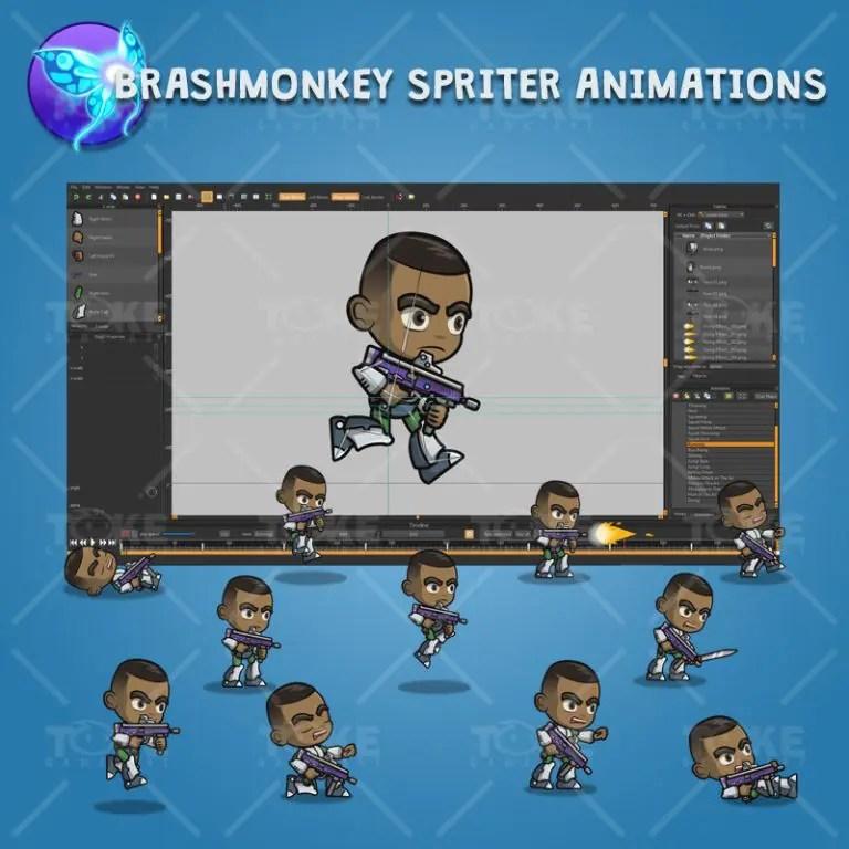 Brown Skin Metro Squad Boy - Brashmonkey Spriter Character Animations