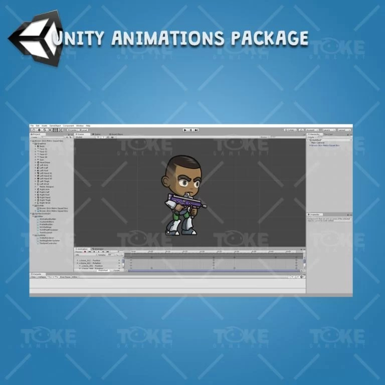 Brown Skin Metro Squad Boy - Unity Character Animation Package Ready with Spriter2UnityDX Tool