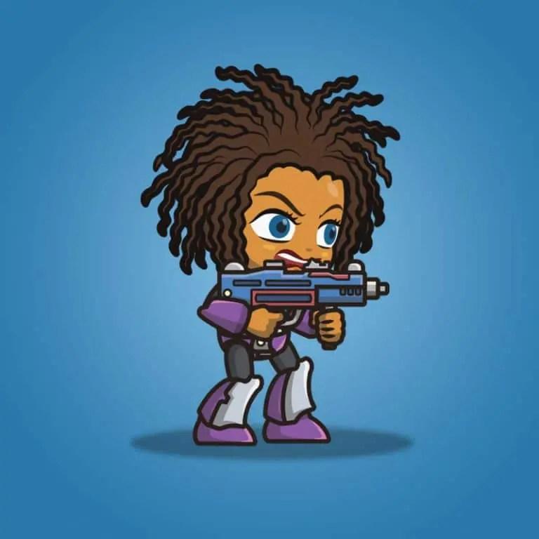 Brown Skin Metro Squad Girl - 2D Charcater Sprite