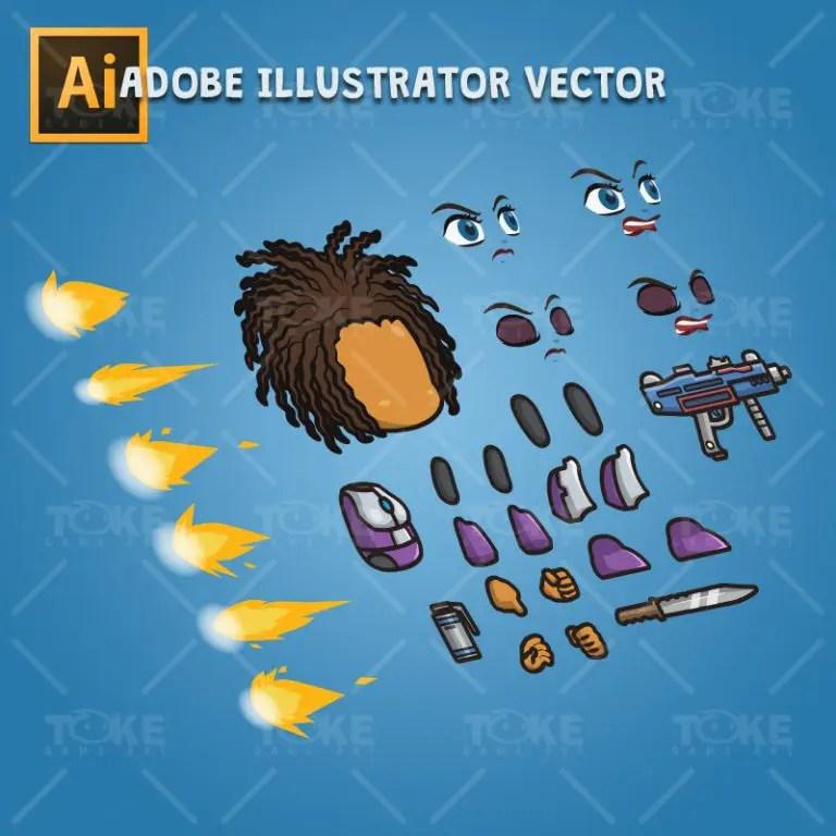 Brown Skin Metro Squad Girl - Adobe Illustrator Vector Art Based Charcater Body Parts