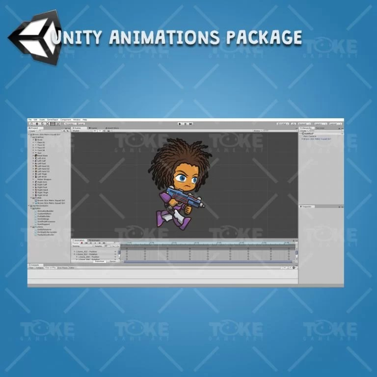 Brown Skin Metro Squad Girl - Unity Character Animation Package Ready with Spriter2UnityDX Tool