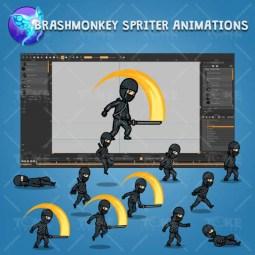 Black Ninja with Sword - Brashmonkey Spriter Character Animations