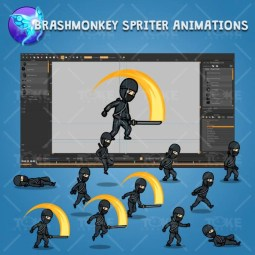 Black Ninja with Sword - Brashmonkey Spriter Character Animations