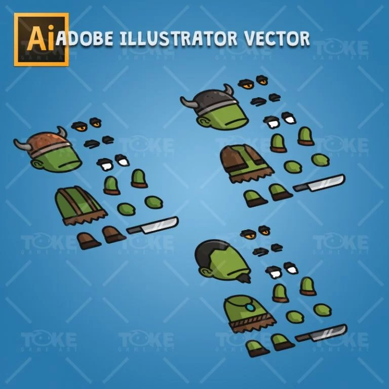 Evil Orc - Adobe Illustrator Vector Art Based Character Body Parts