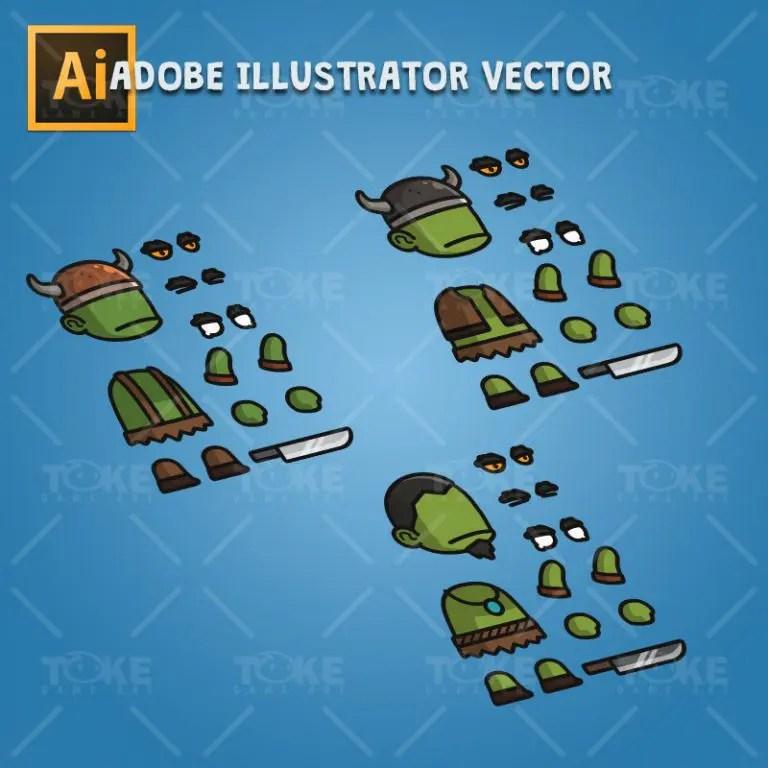 Evil Orc - Adobe Illustrator Vector Art Based Character Body Parts