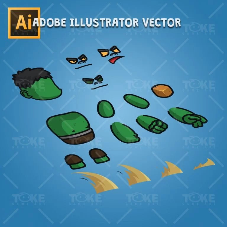 Gigantic Orc - Adobe Illustrator Vector Art Based Charcater Body Parts