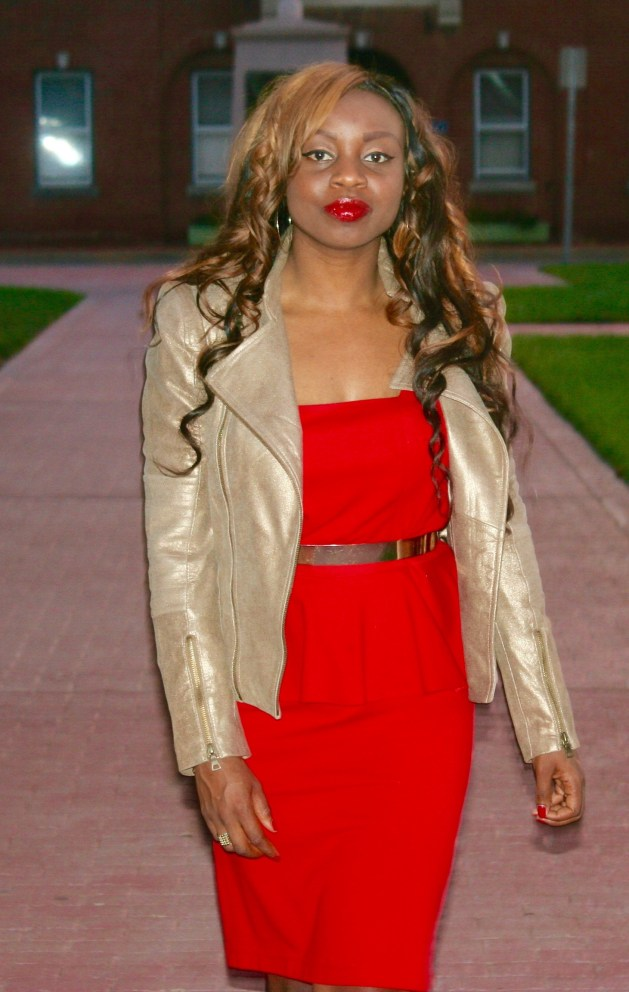 red peplum dress + animal prints + leather jacket5