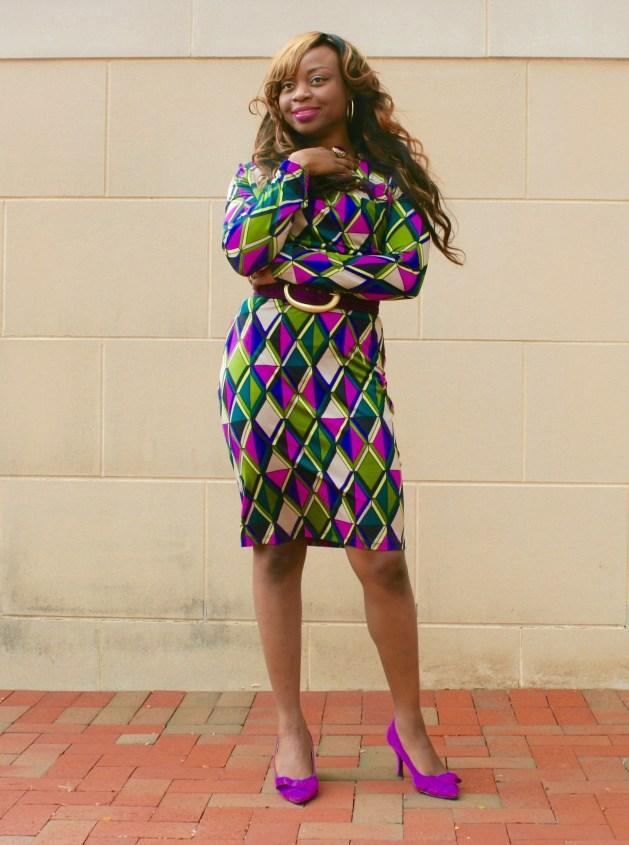 Long sleeve multi-colored purple dress4