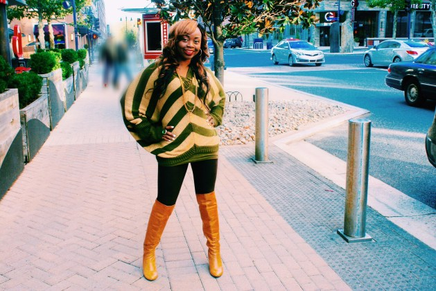 Oversized striped sweater and over the knee boots7