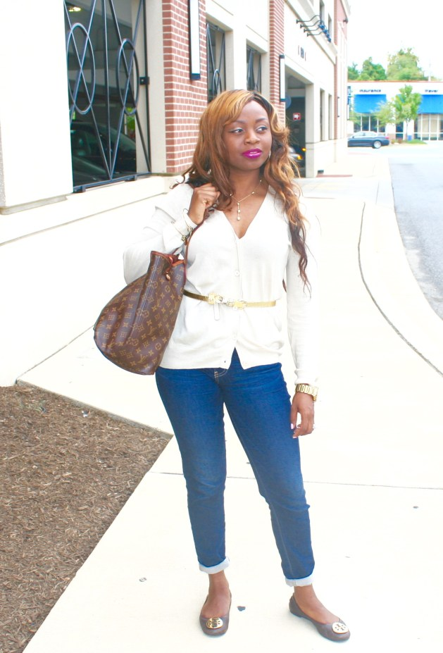 Buttoned down sweater, Cuffed jeans and Tory Burch Flats