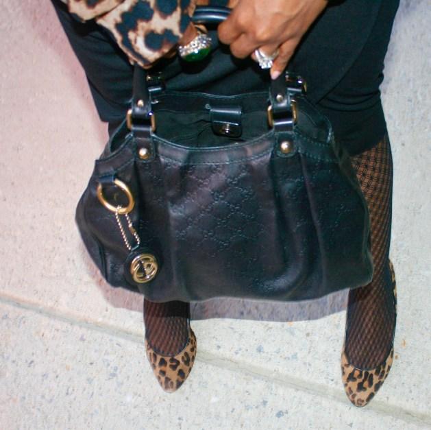 Gucci bag, animal print pumps