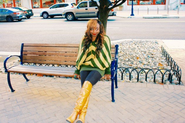 Oversized striped sweater and over the knee boots 3