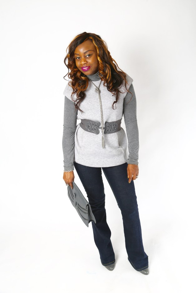 Grey vest with turtleneck and jeans