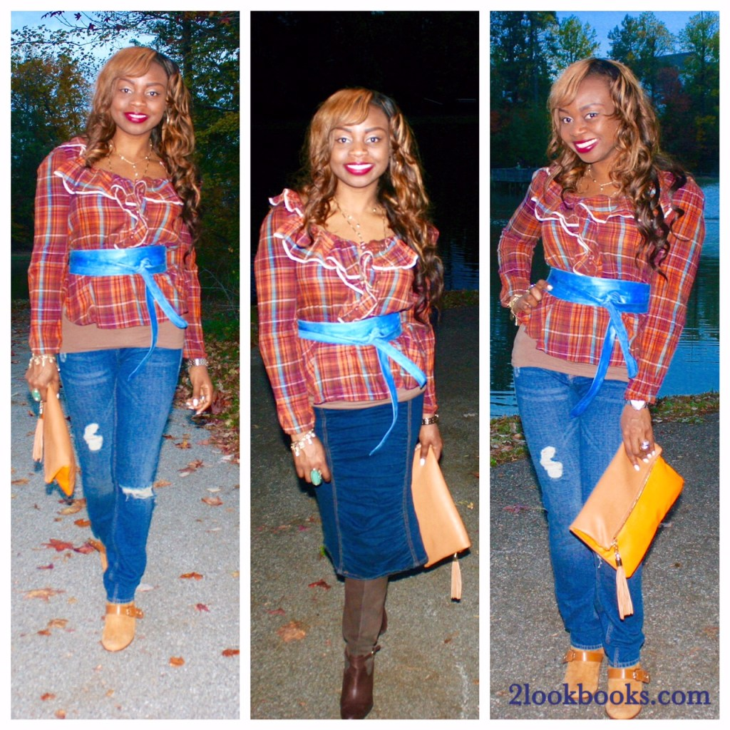 simple ways to style a plaid top with jeans