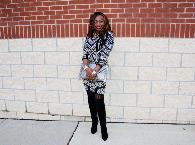 Print-sweaterdress-pewter-envelopeclutch