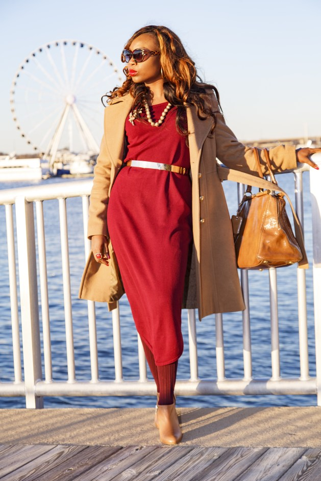 Red Sweater Dress-Tan Boots-Tan Bag-Gold Belt-Lady-Bythewater