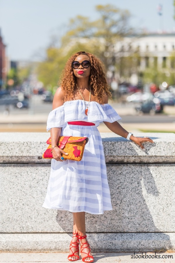Off the Shoulder Striped Dress12