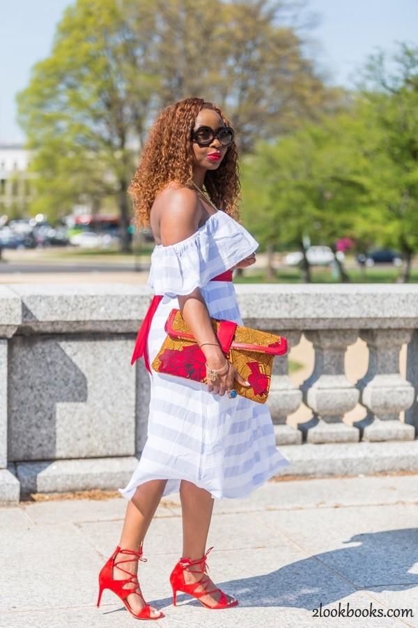 Off the Shoulder Striped Dress18
