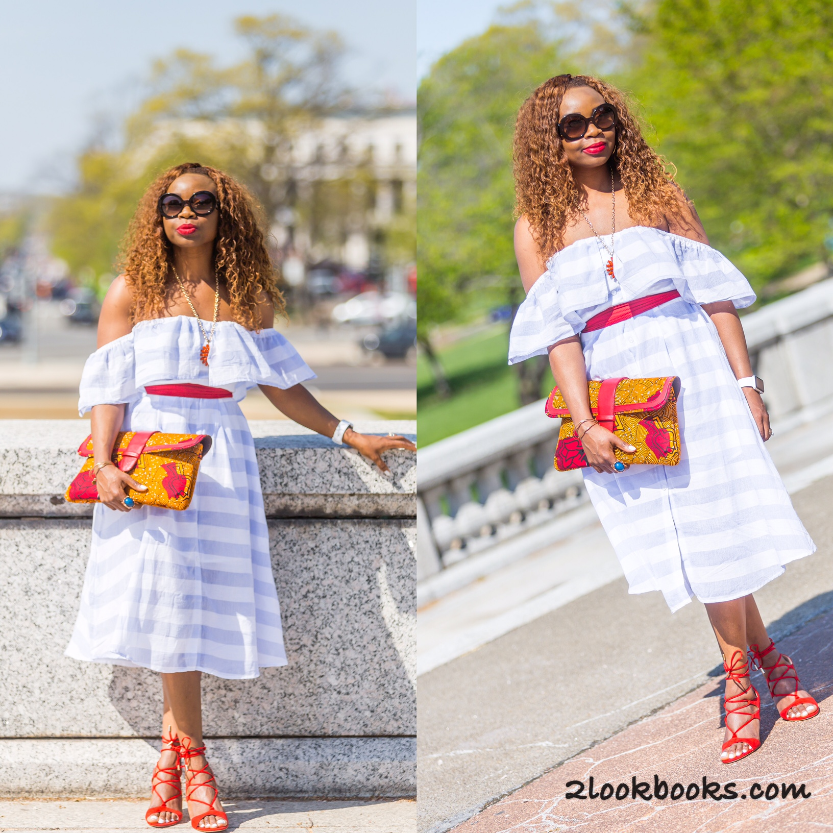 Off the shoulder dress and red lace up sandals3