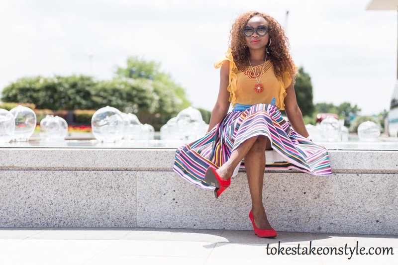 How to wear a multi-colored striped skirt16