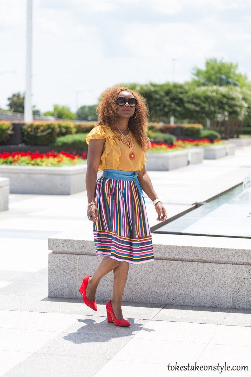 How to wear a multi-colored striped skirt49
