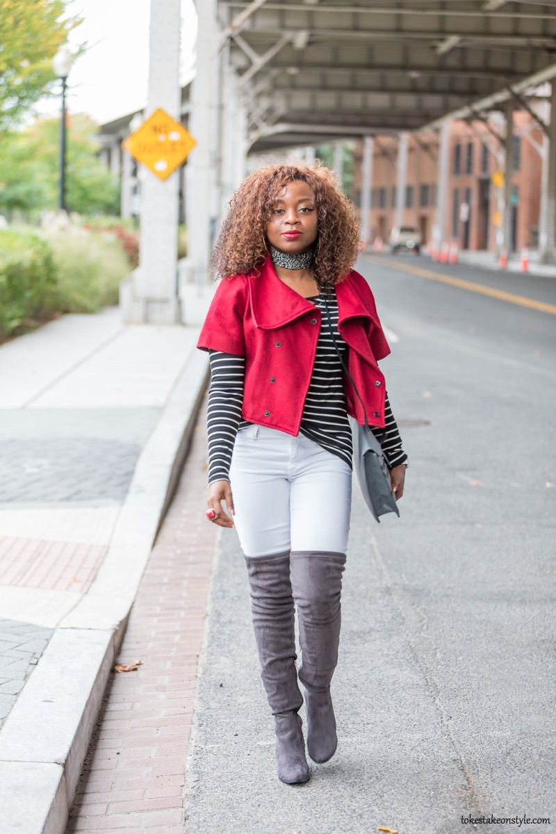Style blogger in red jacket for fall