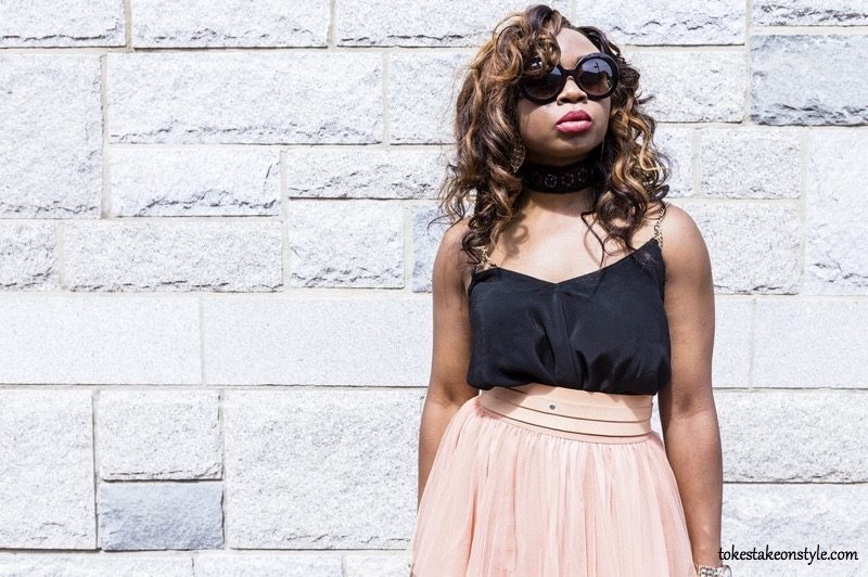Black Prada Sunglasses Choker Necklace Pink Belt Style Blog