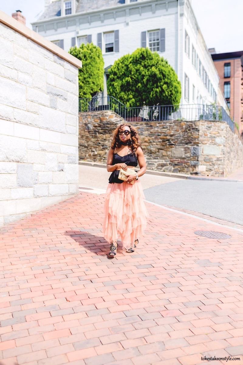 Woman walking pink tulle skirt Georgetown DC