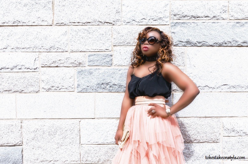 Black asos top pink belt pink tulle skirt Prada sunglasses style blogger
