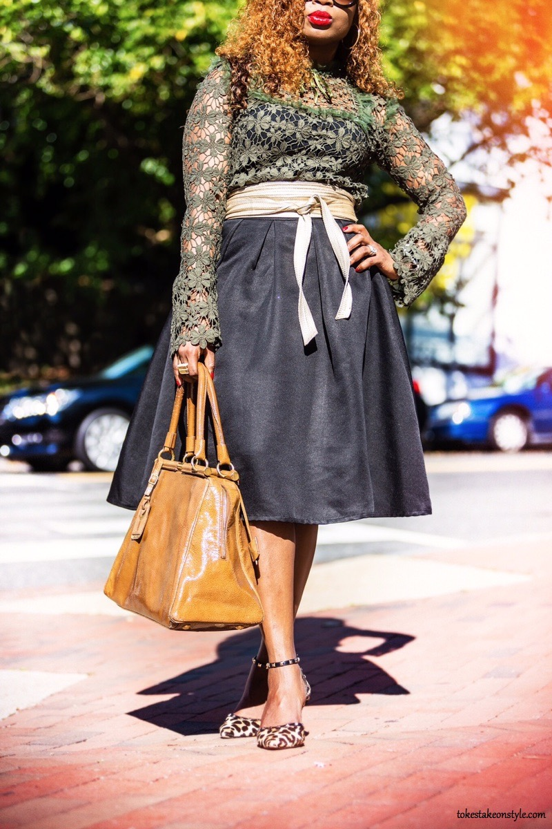 Fall street style blogger wearing statement sleeves