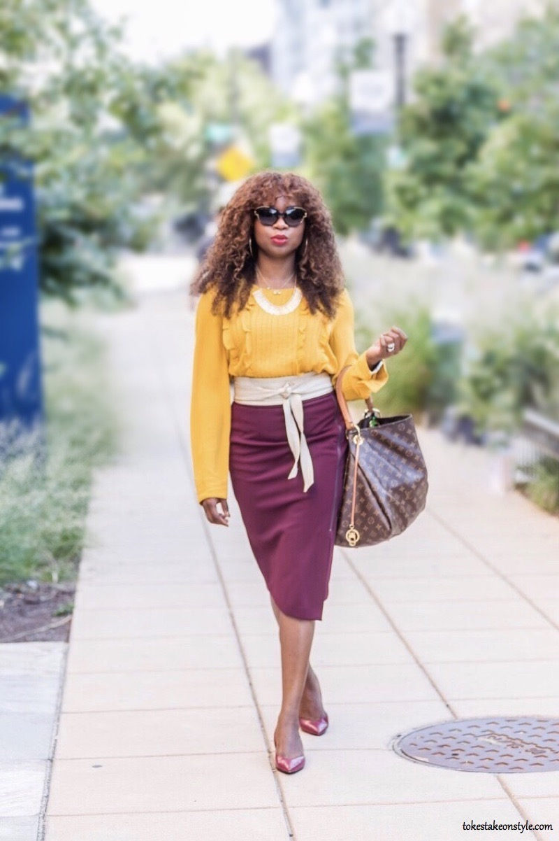 Mustard yellow outfit burgundy skirt fall outfit