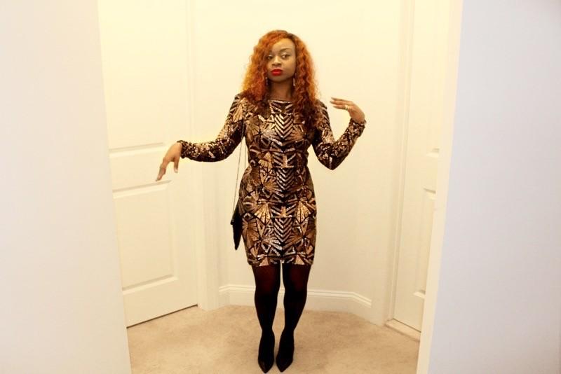 Shiny gold sequin dress