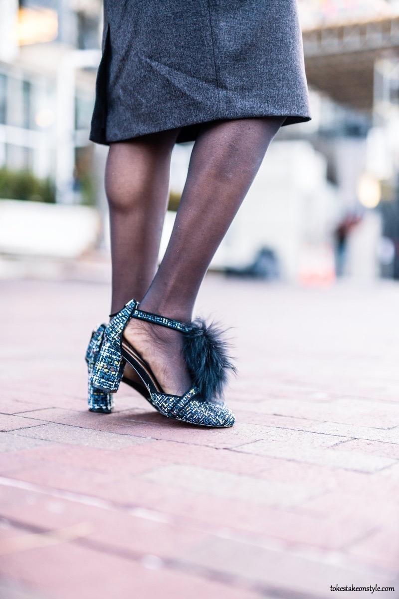 Bettye Muller Boucle Caitlin Faux Fur Pumps