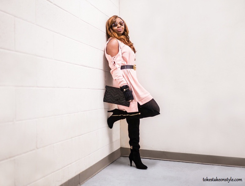 Pink sweater dress and black over the knee boots