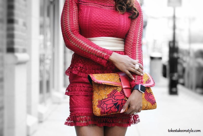 Red lace dress and ankara clutch
