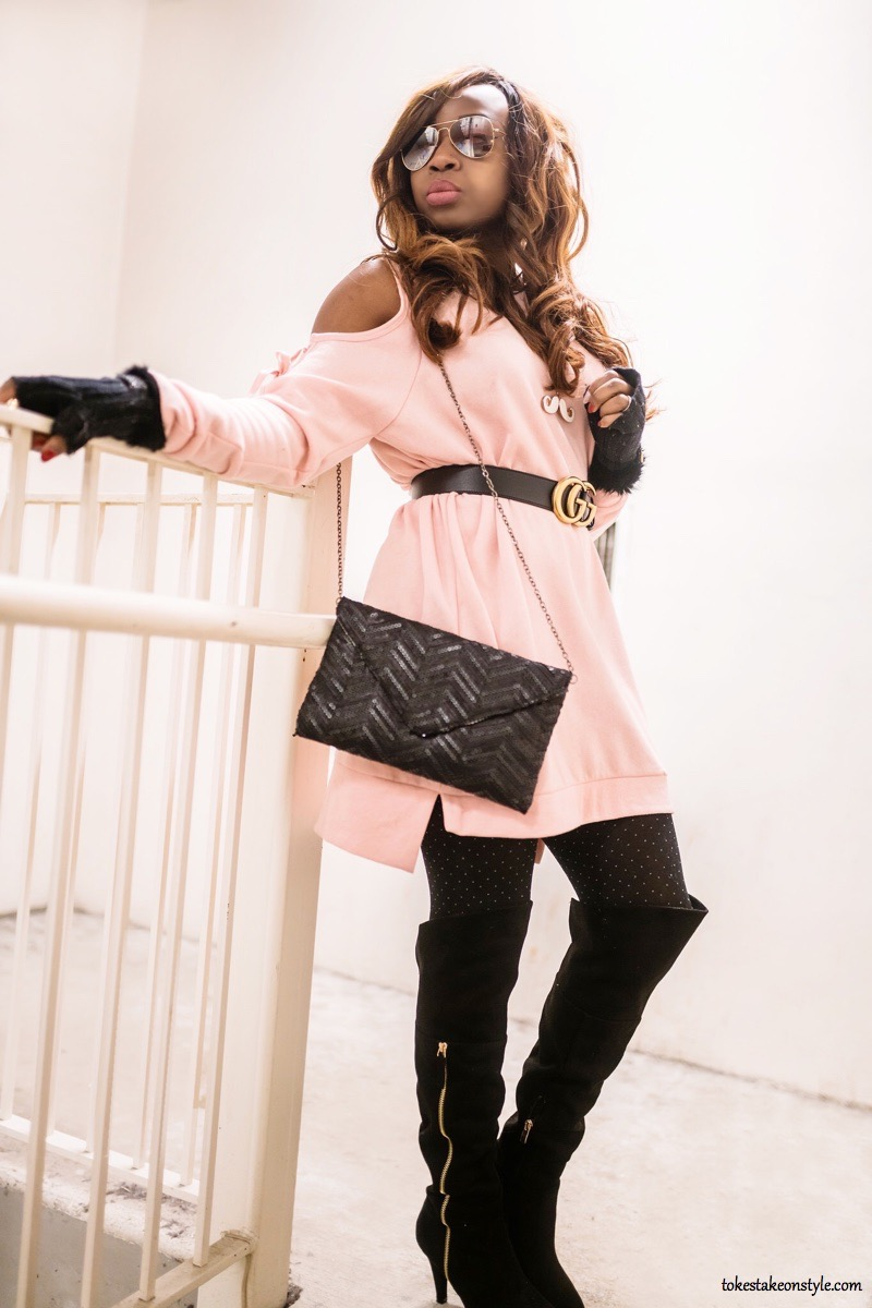 Black gucci belt with pink cold shoulder sweater dress
