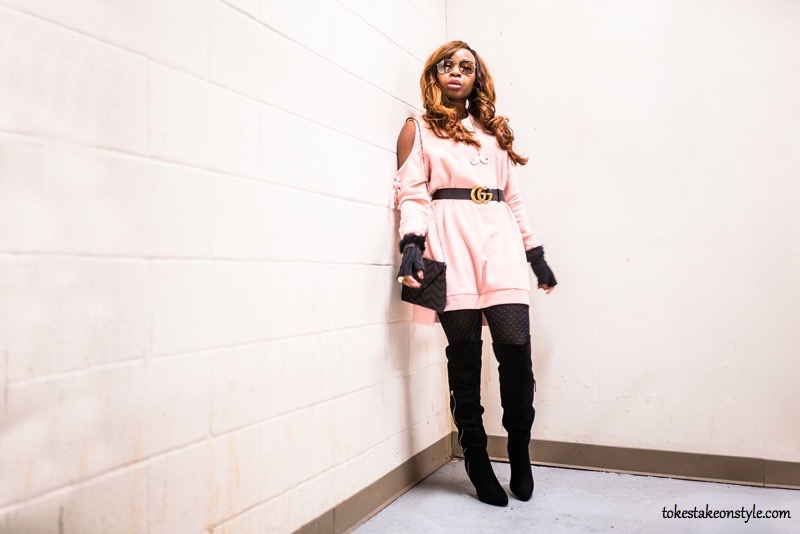 Pink cold shoulder sweater dress and black over the knee boots