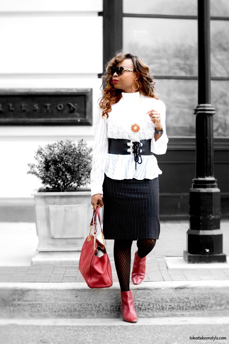 White Shein peplum top and red gucci bag