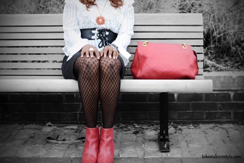 Fishnet stocking with red ankle boots and red gucci bag