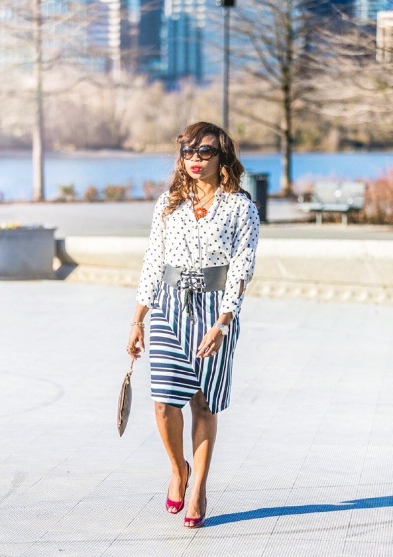 Mixing prints: Polka dot top and striped wrap skirt