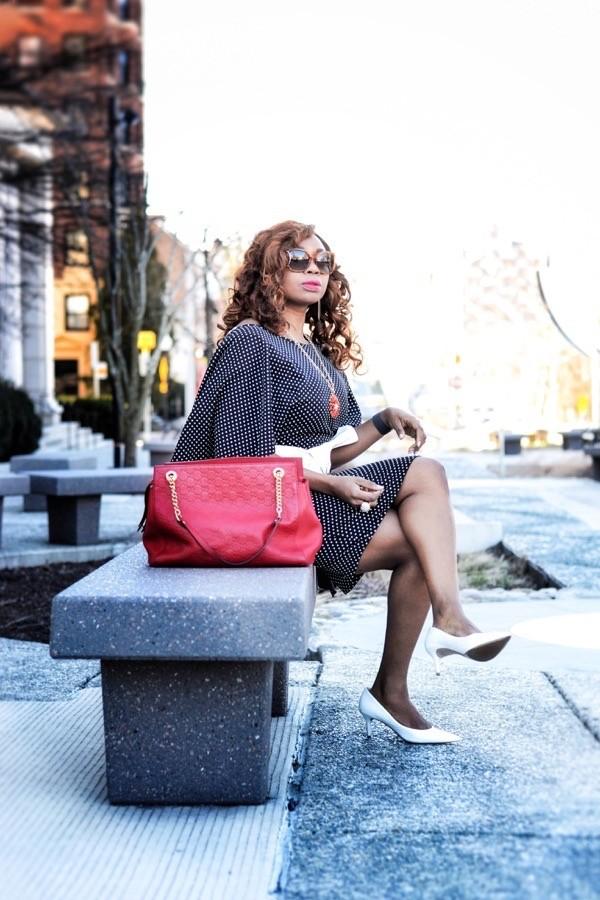 Asos polka dot dress and red Gucci bag