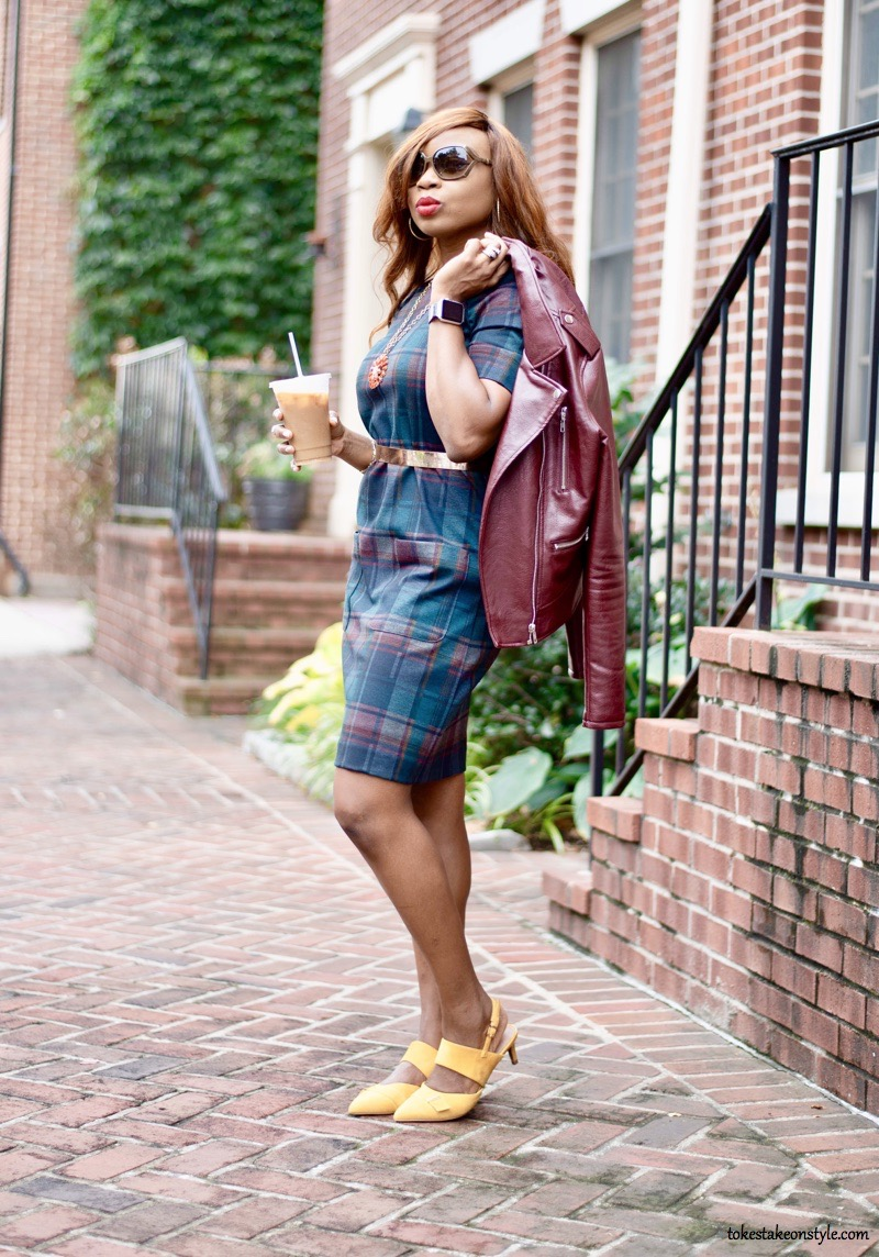 Colorful plaid check dress and yellow ochre sling back kitten heel pumps